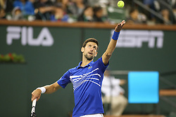March 9, 2019 - Indian Wells, CA, U.S. - INDIAN WELLS, CA - MARCH 09: Novak Djokovic (SRB) serves during the BNP Paribas Open on March 9, 2019 at Indian Wells Tennis Garden in Indian Wells, CA. (Photo by George Walker/Icon Sportswire) (Credit Image: © George Walker/Icon SMI via ZUMA Press)
