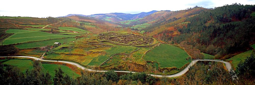 SPAIN, PREHISTORIC Bronze Age/Protohistoric walled village of Castro de Coana near Navia in Asturias on North Coast