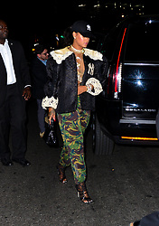 Rihanna celebrates the New York Yankee's win this evening out rocking a Yankee patch on lace Gucci jacket, camo pants and matching ball cap to 1Oak. 05 May 2018 Pictured: Rihanna. Photo credit: PC / MEGA TheMegaAgency.com +1 888 505 6342
