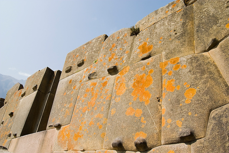 A masterfully carved stone wall rises dramatically at the fortress of Ollantaytambo, the last stronghold of Manco Inca, an Inca Rebel, in the Sacred Valley, Peru on September 23, 2005.