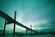 Alaska. The Alaska Pipeline with the Aurora Borealis.