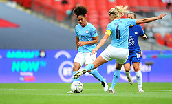 Steph Houghton of Manchester City Women clears the ball - Mandatory by-line: Nizaam Jones/JMP - 29/08/2020 - FOOTBALL - Wembley Stadium - London, England - Chelsea v Manchester City - FA Women's Community Shield