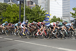 May 1, 2019 - Frankfurt, Hesse, Germany - The peloton race through down town Frankfurt, past the large Euro sign. 22 teams participated in the 58. Eschborn-Frankfurt cycle race. The 187.5 km long route led from the town of Eschborn through the Taunus mountain range to downtown Frankfurt, where it ended in front of the Alte Oper  (Credit Image: © Michael Debets/Pacific Press via ZUMA Wire)