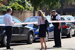 © Licensed to London News Pictures. 25/08/2019. SOUTHALL, UK. Detectives and a police officer in St Mary's Avenue near Southall in west London.  It is reported that a man in his 60s was stabbed outside The Plough pub on Tentelow Avenue in the early evening of 24 August and stumbled to nearby St Mary's Avenue to seek aid from a residence.  Police were called at 6.41pm, paramedics and air ambulance crews attended but the man passed away.  A man in his 30s has been arrested on suspicion of murder.  The investigation continues. Photo credit: Stephen Chung/LNP