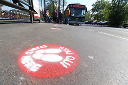 """Social distancing marks to tackle public transport trolleybus. On April 26, 2020 in Milan, Italy. Photo by Clemente Marmorino/Eyepix/ABACAPRESS.COM. Prime Minister Giuseppe Conte announced strategies on the """"phase 2"""" that will begin on May 4, relatives can be visited with the maintenance of various restrictions."""
