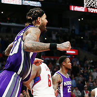 26 March 2016: Sacramento Kings center Willie Cauley-Stein (00) celebrates during the Sacramento Kings 98-97 victory over the Los Angeles Clippers, at the Staples Center, Los Angeles, California, USA.