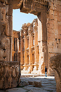 A man walks toward the main door at the Temple of Bacchus, one of the better preserved Roman ruins in the world, in Baalbek, Lebanon. The mammoth door  is 6.3 meters wide and 12.6 meters high.