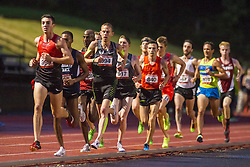 Nike Oregon Project star Galen Rupp settles into the pace of the mens 5000 meters as runners sought the Olympic standard. Rupp has already made the Olympic team in the marathon, and took third this night in 13:27.34
