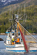 Commercial fishing boat, Prince William Sound, Chugach National Forest, Alaska.