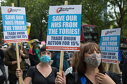 NHS workers and supporters assemble outside University College Hospital (UCH) for a protest march to Whitehall as part of a national day of action to mark the 73rd birthday of the National Health Service on 3rd July 2021 in London, United Kingdom. The protesters called for fair pay for NHS workers, for better funding of the NHS and for an end to privatisation measures affecting the NHS.
