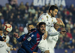 February 24, 2019 - Valencia, Valencia, Spain - Nacho of Real Madrid  in action during La Liga Spanish championship, football match between Levante and Real Madrid, February 24th, Ciudad de Valencia stadium, in Valencia, Spain. (Credit Image: © AFP7 via ZUMA Wire)