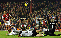 Photo: Javier Garcia/Back Page Images Mobile +447887 794393 Arsenal v Rosenborg, UEFA Champions League 07/12/04, Highbury<br />With the Norwegian defence all over the place Jose Antonio Reyes just misses the target with a deft chip