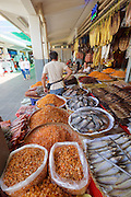 Phnom Penh, Cambodia. Central Market. Dried fish and eafood.
