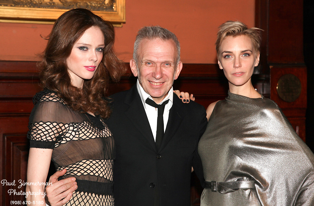 NEW YORK, NY - MARCH 17: (L-R) Coco Rocha, Jean Paul Gaultier and Hannelore Knuts attend the Lycee Francais de New York 2012 gala at the Park Avenue Armory on March 17, 2012 in New York City.  (Photo by Paul Zimmerman/WireImage)