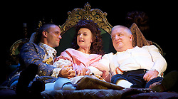 Mr Foote's Other Leg <br /> by Ian Kelly <br /> at Theatre Royal Haymarket, London, Great Britain <br /> press photocall<br /> 30th October 2015 <br /> <br /> Joseph Millson as David Garrick <br /> Dervla Kirwan as Peg Woffington <br /> Simon Russell Beale as Samuel Foote <br /> <br /> <br /> Photograph by Elliott Franks <br /> Image licensed to Elliott Franks Photography Services