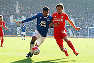 Aaron Lennon of Everton and Joe Allen of Liverpool battle for the ball. Barclays Premier League match, Everton v Liverpool at Goodison Park in Liverpool on Sunday 4th October 2015.<br /> pic by Chris Stading, Andrew Orchard sports photography.