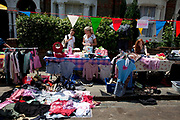 Street Fete on a sunny Summers day in in Hampstead in West London. This wa s a street party for the locals with food, and games and junk selling.