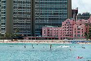 Surfers & Stand-Up Paddle Surfers off of Waikiki Beach, Honolulu, Oahu, Hawaii