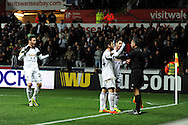 Swansea's Alvaro Vazquez (l) reacts after his 1st half goal is dissallowed.UEFA Europa league match, Swansea city v Valencia at the Liberty Stadium in Swansea on Thursday 28th November 2013. pic by Andrew Orchard, Andrew Orchard sports photography,