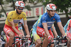 September 13, 2016 - Pingchang, China - The race Leader Raffaello Bonusi (Left) and the Blue Jersey Marco Benfatto from Androni Giocattoli team the fourth stage, 157.57 km from Bazhong to Pingchang, during the 2016 Tour of China 1...On Tuesday, 13 September 2016, in Pingchang, China. (Credit Image: © Artur Widak/NurPhoto via ZUMA Press)