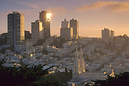 Sunset light on apartment buildings atop Russian Hill, San Francisco, California