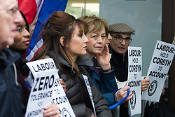 Jews and supporters from across the UK demonstrate outside the headquarters of the Labour Party in Victoria Street, Westminster, against what they say is ongoing antisemitism within the Labour Party. London, April 08 2018.
