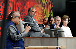 (R to L) : Former First Lady Laura Bush, former President George W. Bush, U.S President Barack Obama and First Lady Michelle Obama listen to singer Stevie Wonder during the opening ceremony of the Smithsonian National Museum of African American History and Culture in Washington, DC, USA on September 24, 2016. The museum is opening thirteen years after Congress and President George W. Bush authorized its construction. Photo by Olivier Douliery/ABACAPRESS.COM