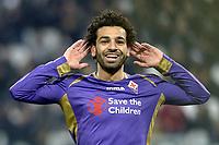 Esultanza Mohamed Salah Fiorentina gol 1-2, goal celebration,<br /> Torino 05-03-2015, Juventus Stadium, Football Calcio 2014/2015 Coppa Italia, semifinale, Juventus - Fiorentina, Foto Filippo Alfero/Insidefoto