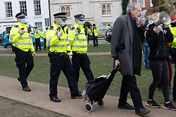 © Licensed to London News Pictures. 06/03/2021. London, UK. Piers Corbyn attends an anti-vaccination and anti-lockdown  demonstration organised by Jam For Freedom in Richmond. The group is using music to create positive effects and health against the current tier regulations and anti-vaccination for the Covid-19 disease. Photo credit: Ray Tang/LNP