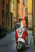 Vespa scooter in the Vieille Ville (old town) part of Nice on the French Riviera (Cote d'Azur)