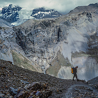 Meredith Wiltsie descends 17,769-foot Thorang La pass north of Annapurna in Nepal.