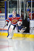 KELOWNA, CANADA, FEBRUARY 15: Laurent Brossoit #31 of the Edmonton Oil Kings enters the ice at the Kelowna Rockets on February 15, 2012 at Prospera Place in Kelowna, British Columbia, Canada (Photo by Marissa Baecker/Shoot the Breeze) *** Local Caption ***