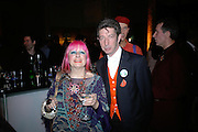 ZANDRA RHODES AND DUGGIE FIELDS, Montblanc and Katherine Jenkins celebrate The launch of Montblanc's First Fine Jewellery Collection. V. & A. London. 24 April 2007.  -DO NOT ARCHIVE-© Copyright Photograph by Dafydd Jones. 248 Clapham Rd. London SW9 0PZ. Tel 0207 820 0771. www.dafjones.com.