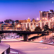 Brush Creek frozen over in the winter with the Plaza Lights<br /> <br /> Repped for print sales by Prairiebrooke Arts, 913-341-0333