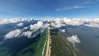 Aerial view above the clouds at Curonian Spit, Russia