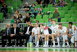 Team Olimpija during basketball match between KK Petrol Olimpija and KK Hopsi Polzela in Round #2 of Liga NovaKBM 2018/19, on October 21, 2018, in Arena Stozice, Ljubljana, Slovenia. Photo by Vid Ponikvar / Sportida