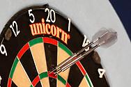180, Daniel Larsson's darts in board, during the Darts World Championship 2018 at Alexandra Palace, London, United Kingdom on 18 December 2018.