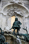 The Matthias Fountain designed by Alajos Strobl standing in Castle Hill Varhegy in the Buda district of Budapest. Details