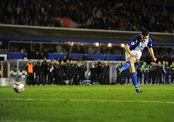 Birmingham City's Lee Novak misses his penatly. -  - Photo mandatory by-line: Alex James/JMP - Tel: Mobile: 07966 386802 29/10/2013 - SPORT - FOOTBALL - ST Andrew's - Birmingham - Birmingham City v Stoke City - Capital One Cup - Forth Round
