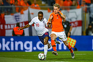 England forward Raheem Sterling (Manchester City) tussles with Netherlands Midfielder Frenkie de Jong (Ajax)  during the UEFA Nations League semi-final match between Netherlands and England at Estadio D. Afonso Henriques, Guimaraes, Portugal on 6 June 2019.