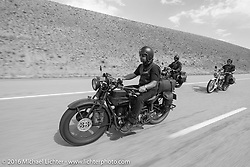 """Andreas """"Andy"""" Kaindl of Southern Germany riding his 1924 Henderson Deluxe during stage 11 (289 miles) of the Motorcycle Cannonball Cross-Country Endurance Run, which on this day ran from Grand Junction, CO to Springville, UT., USA. Tuesday, September 16, 2014.  Photography ©2014 Michael Lichter."""