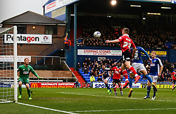 Bristol City's Joe Bryan forces a save from Oldham Athletic's Joel Coleman   - Photo mandatory by-line: Matt McNulty/JMP - Mobile: 07966 386802 - 03/04/2015 - SPORT - Football - Oldham - Boundary Park - Oldham Athletic v Bristol City - Sky Bet League One
