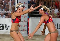 Andreja Vodeb and Simona Fabjan during women final match of Slovenian National Championship in beach volleyball Kranj 2012, on June 30, 2012 in Kranj, Slovenia. (Photo by Vid Ponikvar / Sportida.com)