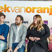 NLD/Amsterdam//20170419 - Castpresentatie film Gek op Oranje, Willem Voogd, Nasrdin Dchar, Esmee van Kampen en Abbey Hoes