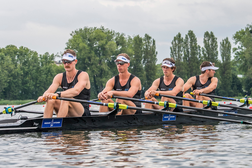 Lewis Hollows (West End RC), Cameron Crampton (Timaru RC), Nathan Flannery (Union Christchurch RC) and Giacomo Thomas (Hawkes Bay RC) NZ Mens Quadruple Scull racing the qualification heats at World Rowing Cup II, Lake Malta, Poznan, Poland Friday 16th June 2017. © Copyright Steve McArthur / Rowing NZ