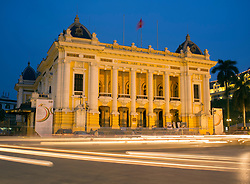 Night view of Hanoi Opera House with traffic Vietnam