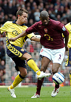 Photo: Ed Godden.<br />Arsenal v Aston Villa. The Barclays Premiership. 01/04/2006. Lee Hendrie (L) and Arsenal's Abou Diaby.