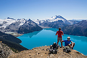 From stunning Panorama Ridge, admire the vibrant turquoise color of Garibaldi Lake, which comes from glacial flour suspended in meltwater from Sphinx and Sentinel Glaciers. Garibaldi Provincial Park is east of the Sea to Sky Highway (Route 99) between Squamish and Whistler in the Coast Range, British Columbia, Canada. A hiking loop to Garibaldi Lake via Taylor Meadows Campground is 11 miles (18k) round trip, with 3010 ft (850m) gain. Panorama Ridge is 6 miles (10k) RT with 2066 ft (630m) gain from either Taylor Meadows or Garibaldi Lake Campground (or 17 miles RT with 5100 ft gain from Rubble Creek parking lot).