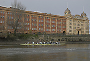 Putney, GREAT BRITAIN,  [right to left] as Cambridge move past Harrods during the[ right to left] Colin SCOTT, Tim PERKINS, Henry PELLY, Tobias GARNETT, Peter MARSHLAND, Tom RANSLEY, Tom EDWARDS, Ryan MONAGHAN, Cox Rebecca DOWBIGGIN.  2008 Boat Race, Tideway Week,   Training outing on the River Thames, Thur. 27.03.2008 [Mandatory Credit, Peter Spurrier / Intersport-images Varsity Boat Race, Rowing Course: River Thames, Championship course, Putney to Mortlake 4.25 Miles, , Pete Marsland