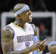 Oct 30, 2010; Houston, TX, USA; Denver Nuggets power forward Al Harrington (7) celebrates hitting a three point shot against the Houston Rockets during the fourth quarter at the Toyota Center. The Nuggets won 107-94. Mandatory Credit: Thomas Campbell-US PRESSWIRE